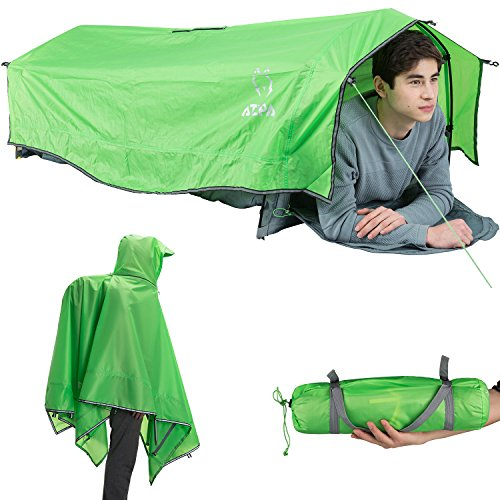 ATEPA Multipurpose Lightweight Compact Waterproof Single Person Bivy Tent Camping Backpacking Expedition Military Poncho, Green