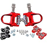 KUKOME Road Bike Sealed Pedals Look Keo Compatible Ultralight Pedal (Red)