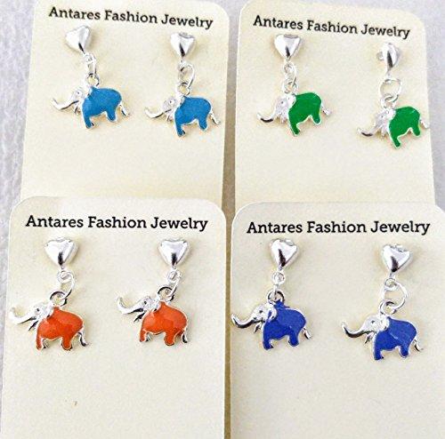 Silver Plated Enamel Elephant Earrings Heart Posts for Girls Women Many (Enamel Childrens Elephant Earrings)