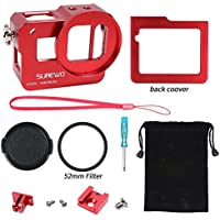 SUREWO CNC Aluminum Alloy Protective Case Shell Frame for Gopro Hero 5 Black (Red)