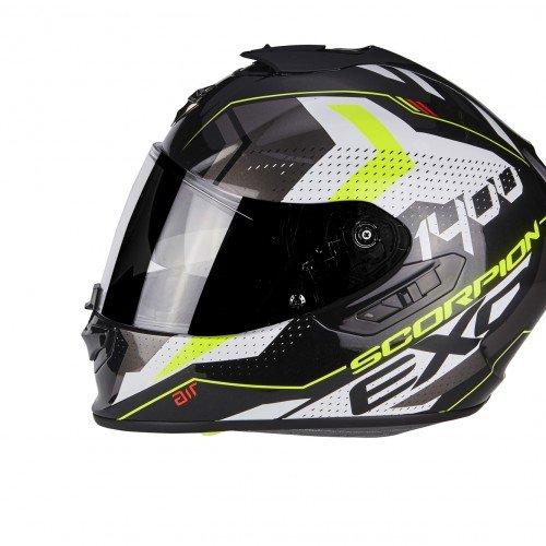 Scorpion Caschi moto Scorpion EXO 1400 AIR TRIKA Bianco Nero Giallo neon