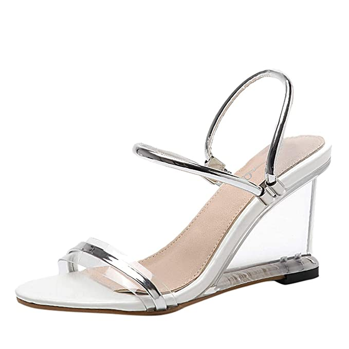 21993cc6c17f7 Moonker Women Girls Fashion Transparent Wedges Sandals Ladies Summer  Two-Strap Peep Toe Sandals Beach Shoes
