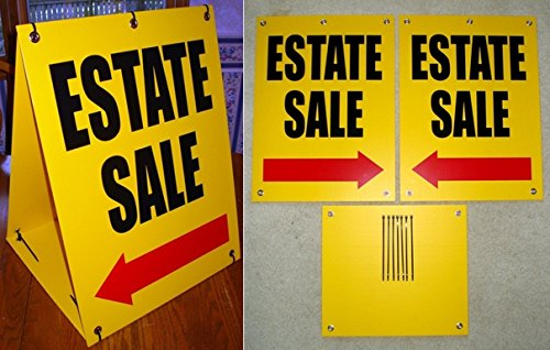 1-Set First-Rate Modern Estate Sale with Arrow Sign Plastic Coroplast Retail Notice Sandwich Size 18