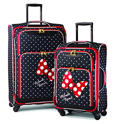 American Tourister Disney Minnie Mouse Red Bow 2-Piece Softside Luggage Set (21/28) with Spinner Wheels (Minnie Mouse Luggage)