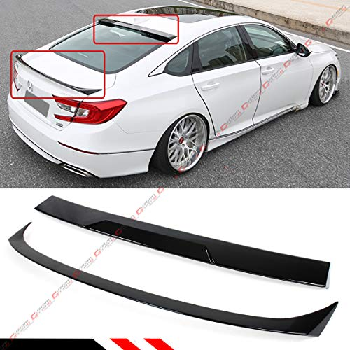 Cuztom Tuning FITS for 2018-2019 Honda Accord JDM Style Painted Glossy Black Trunk LID Spoiler + Rear Window ROOF Spoiler ()