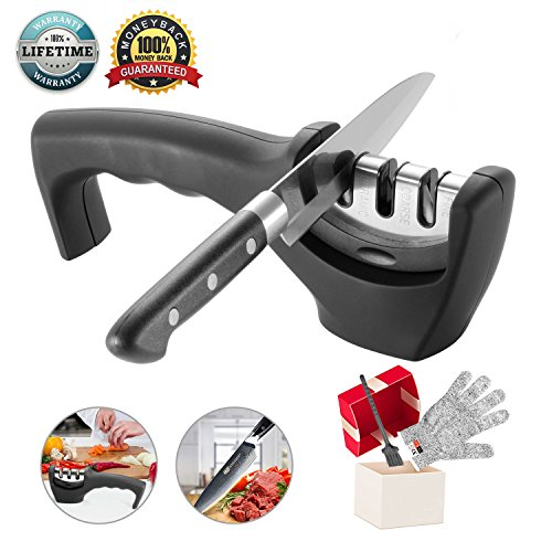 Knife Sharpener- Professional Kitchen Knife Sharpener 3 Stage Steel Diamond Ceramic Coated Kitchen Sharpening Tool with Cut Resistant Glove - Non-slip Base Chef Knife Sharpening Kit Easy to Control (Kit Drawer Single)