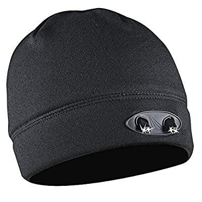LED Beanie Hat - 4 Ultra Bright Lights - Luxury Compression Fleece - Black - Hands Free - Super Comfortable and Warm - Huggabe Lighted Hat Makes Path Visible up to 42 Feet Away