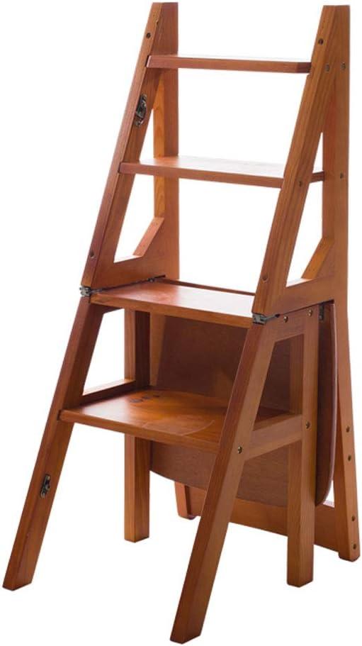 Plegables pasos de escalera Escalera plegable/silla de escalera Taburete de escalera plegable multifunción de madera Biblioteca de casa Escalera de escalada, 4 peldaños, altura 90 cm, color nogal: Amazon.es: Hogar
