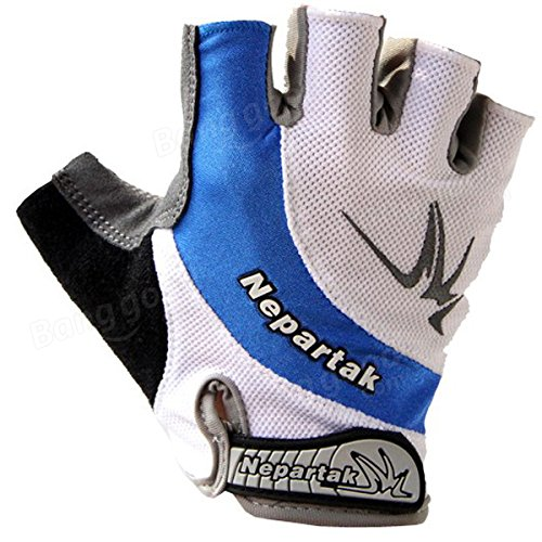 Bazaar La moitié doigts d'été bleu gants vélo VTT d'équitation