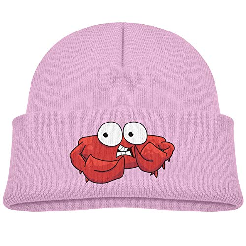 Kids Knitted Beanies Hat Red Crab with Big Eyes Winter Hat Knitted Skull Cap for Boys Girls Pink ()