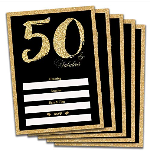 50th Birthday or Anniversary Invitations, envelopes and Stickers Included Gold and Black 50 and Fabulous (25)