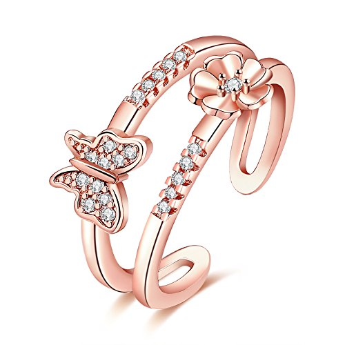 Joshua Home Jewelry 18K Rose Gold Women's Adjustable Size Volly Open Rings Butterfly Shape Purple Austrian Crystals Rings Austrian Crystal Butterfly Ring