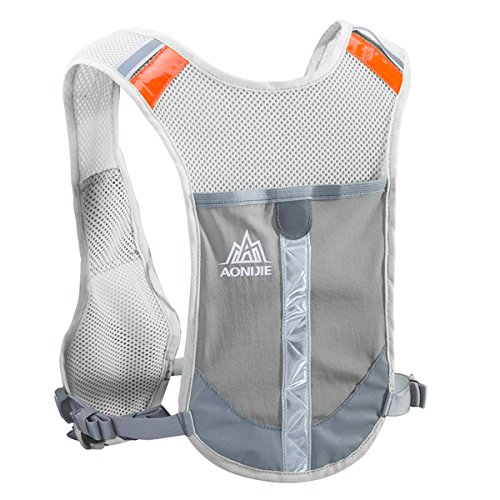 TRIWONDER Reflective Running Vest Hydration Vest Hydration Pack Backpack for Marathoner Running Race Cycling (Grey - Only Vest) (Mens Journey Water)