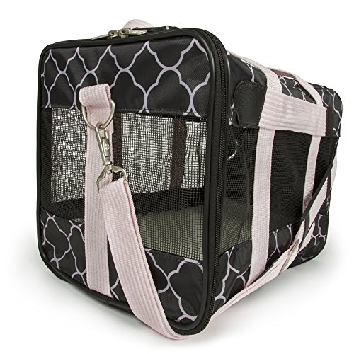 Sherpa Dog Cage - Sherpa Original Deluxe Pink and Black Pattern Medium Pet Carrier