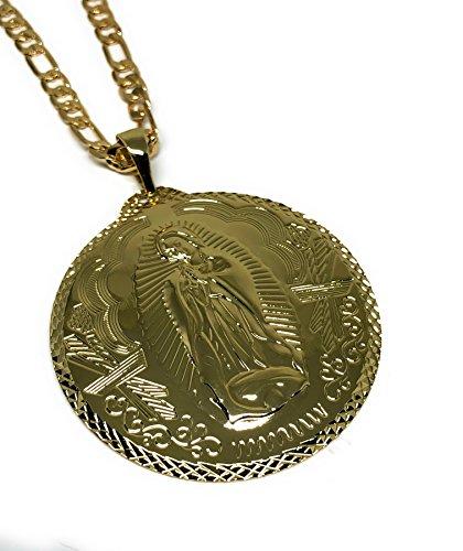 Virgen Guadalupe XL Grande Medalla Pendant Necklace Chain 26