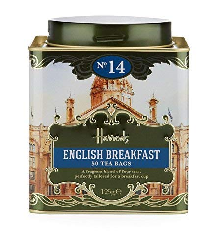 Harrods London. No. 14, English Breakfast 50 Tea Bags 125g 4.4oz GIFT TIN CADDY Seller Product Id HD2 USA Stock