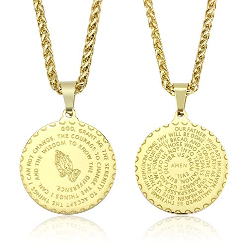 - Sunflower Jewellery Prayer Necklace Jewelry 18K Gold Plated Praying Hands Coin Medal Pendant