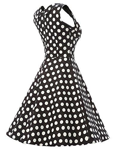Dresstells 1950 Retro Rockabilly Polka Dots Dress Cocktail Dress Pleated Skirt Black White Punto