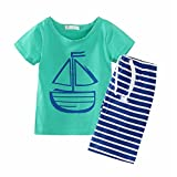 Baby Boys' Summer Short Sleeve T-shirt and Stripe Shorts Pants Clothing Set (18-24Months, Green)