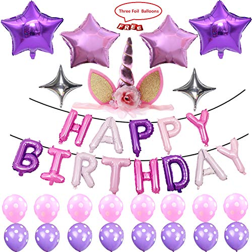Purple Theme Balloon Birthday Party Supplies, Happy Birthday Decoration Set With Purple and Silver Five & Four-Pointed Star Foil Balloons Pink And Purple Latex Balloons, Full Birthday Set 39PCS For -