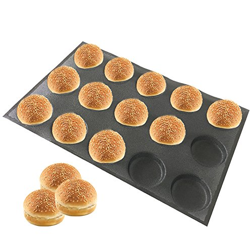 Bluedrop Silicone Hamburger Bread Forms Round Shape Bread Tray Silicone Perforated Silicone Bakery Molds Crusty Bread Bakeware