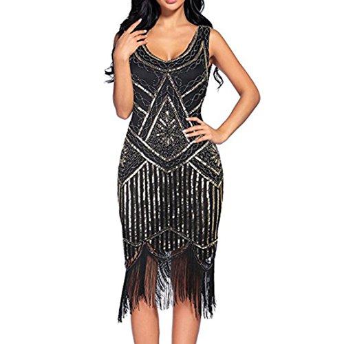 FORUU Women Vintage 1920s Sequin Beaded Tassels Party Hem Flapper Gown Dress (S, Black)