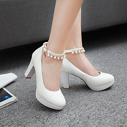 YE Women's Round Toe Ankle Strap Thick Heel Court Shoes with Fashion Pearl and 2 cm Platform White d8a9IirC