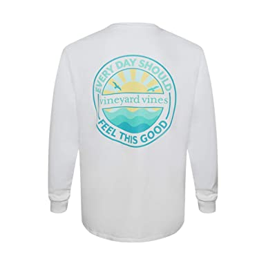 11339d2b3 Vineyard Vines Men's Long-Sleeve Graphic Pocket T-Shirt (Small, White Cap