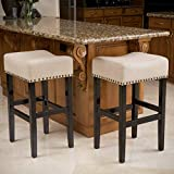 Chantal Backless Beige Linen Counter Height Stools with Brass Nailhead Studs, Set of 2