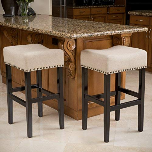 (Chantal Backless Beige Linen Counter Height Stools with Brass Nailhead Studs, Set of 2)