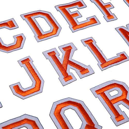 J.CARP Alphabet A to Z Patches, Iron on Sew on Letters for Clothe, 26pcs Orange
