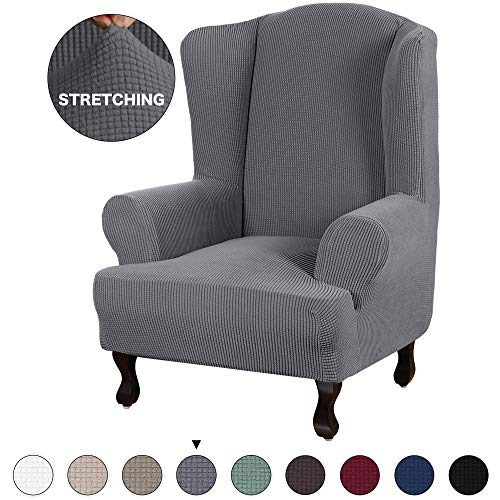 Turquoize Stretch Wing Chair Slipcover Wingback Armchair Chair Sofa Cover Furniture Protector 1-Piece with Elastic Bottom Anti-Slip Foam Kids Jacquard Fabric Small Checks (Wing Chair, Grey) (Covers Armchairs)