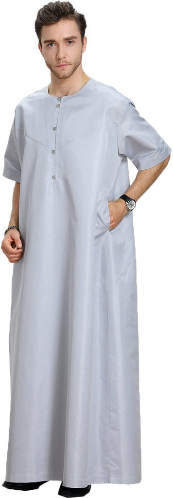 Ababalaya Men's Round Neck Half Sleeve Solid Saudi Arab Thobe Islamic Muslim Dubai Robe,Gray,XL