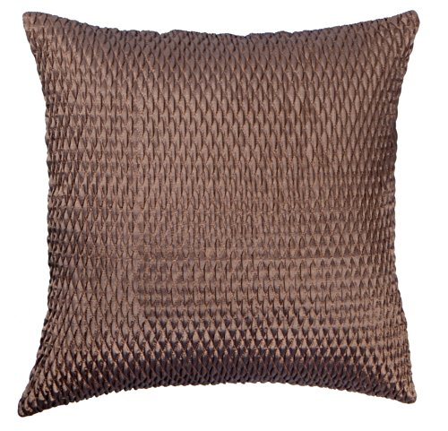 Loft Collection Gathered Sateen Diamond Decorative Pillow Replacement Cover, Bronze