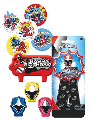 Power Rangers Birthday Cake Candle Set & Birthday Party Confetti Filled Ribbon for Guest of Honor! Plus Party Favor -