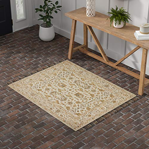 Stone Beam Lottie Traditional Wool Area Rug, 4 x 6 Foot, Beige