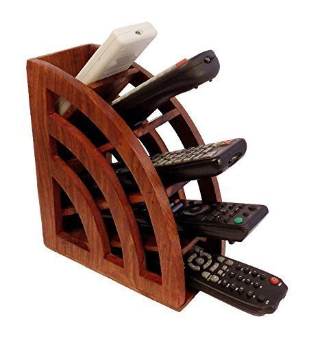 Handmade Wooden Multi Remote Control Holder/stand/organizer/rack for Space Saving 5 Slot TV Remote Control, Brown Color Decorative Accessories for your Home & Office 7.5 X 3 Inch, Easter Day Gift by WhopperOnline