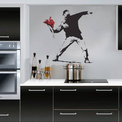 Banksy Flower Thrower - Wall Decal Sticker lounge living ...