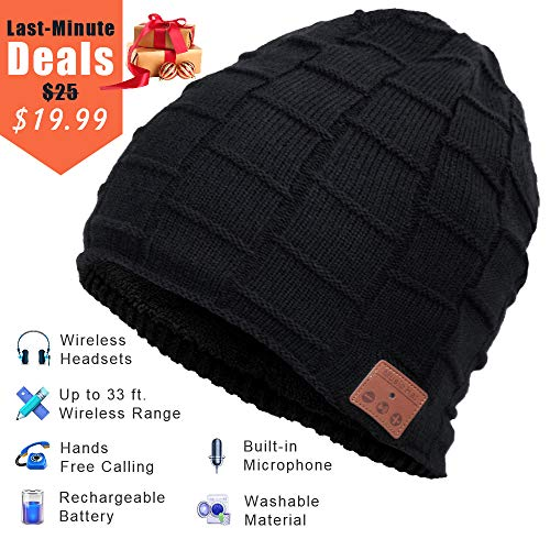 Bluetooth Beanie, Wireless Bluetooth Hat with Bluetooth Headphones Supports Hands-free HD Music & Calling, Dual Layer, Unisex, Charged via USB, Fully Washable, Christmas Gifts.