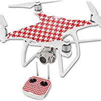 MightySkins Skin For DJI Phantom 4 Quadcopter Drone – Red Houndstooth Protective, Durable, and Unique Vinyl Decal wrap cover | Easy To Apply, Remove, and Change Styles | Made in the USA