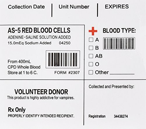 Vampire Costumes Party City (Halloween Party Favors , Amazlab Blood Pack IV Bag Labels Set of 20)