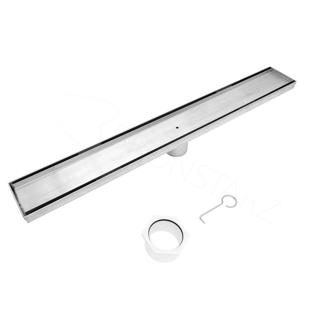 Bronstarz Linear Shower Drain with Tile Insert Brushed 304 Stainless Steel for Tile Shower Bases With CUPC Certified (26 inch)