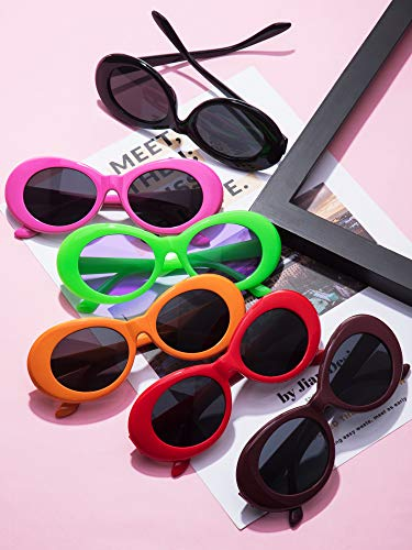 12 Pairs Clout Oval Goggles Oval Kurt Mod Thick Frame Round Lens Sunglasses Oval Round Plaid Clout Glasses Mod Sunglasses with 5 Lens Cloth for Women Men Teenagers Girls Boys 12 Colors
