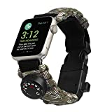 for Apple Watch Band iwatch Strap Survival Watch Paracord/Whistle/Fire Starter/Scraper/Compass and Thermometer, 6 in 1 for Apple Watch Series All Models 42mm
