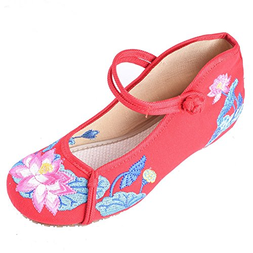 Shoes Women Walking Chinese Embroidery Comfortable Mary Jane Casual Vintage Sandals Red Lazutom Style 4HWPPq