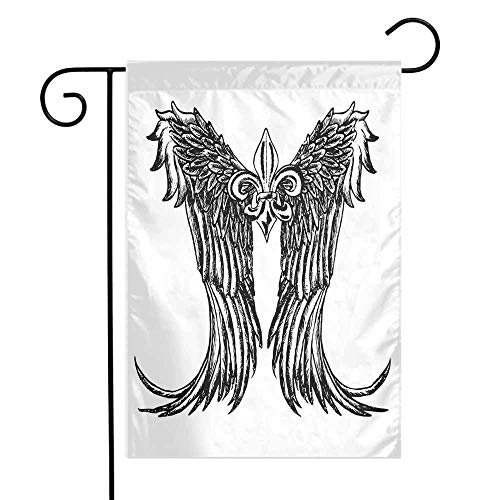Mannwarehouse Medieval Garden Flag Tribal Wing Design Magic Spell Middle Ages Symbol of Power Artistic Design Premium Material W12 x L18 Black and White]()