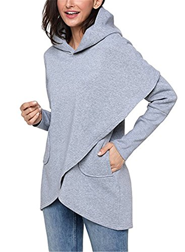BETTE BOUTIK Womens Solid Color Asymmetric Hem Wrap Hoody Pollover Outwear Tops & Blouse Grey XX-Large (Top Amp)