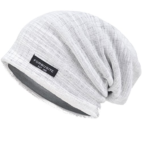(VECRY Men Slouch Hollow Beanie Thin Summer Cap Skullcap (Stripe)