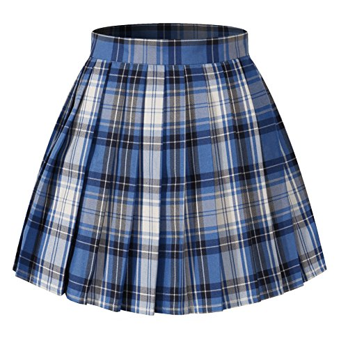 Women`s high Waisted Plaid Short Sexy A line Skirts Costumes (2XL, Blue Mixed White Black)
