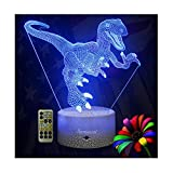 Dinosaur Night Lights for Kids Christmas Gift Birthday Indoraptor Toy 3D Illusion Lamp Dino Gifts for Boys Home Bedroom Party Supply Decoration 7 Color Blue Raptor Remote Timer